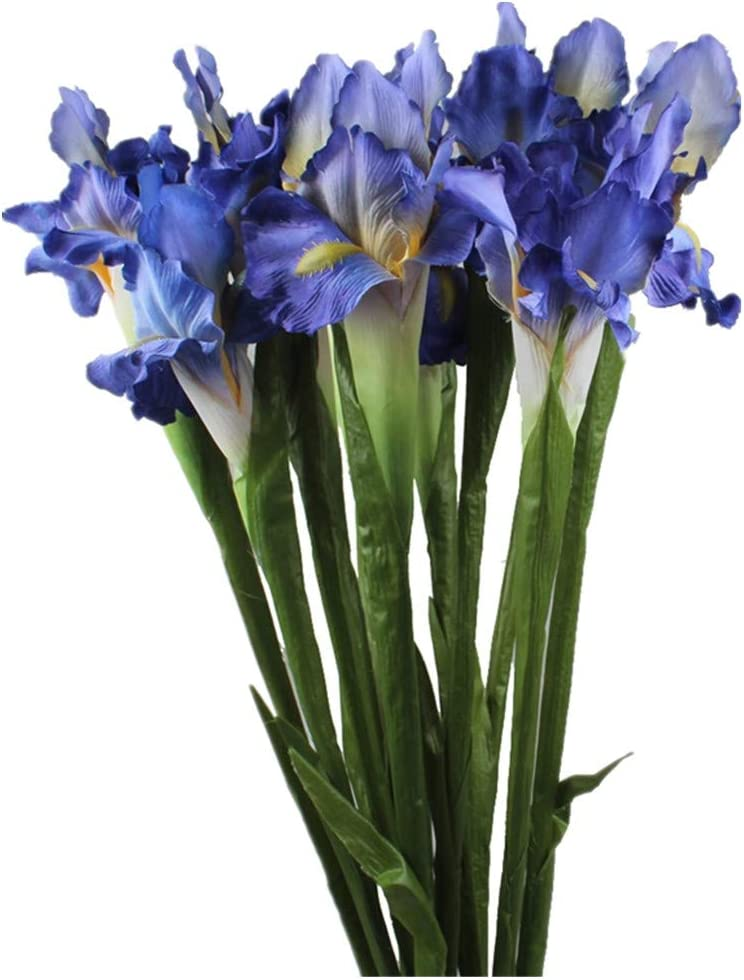 Allinlove 4 Bundle Real Touch Long Stems Iris Flower Silk Artificial Ireland Irish Iris Fake Flower for Wedding Decor Home Flower Arrangements Decoration Table Centerpieces, 26.8inch (Blue)