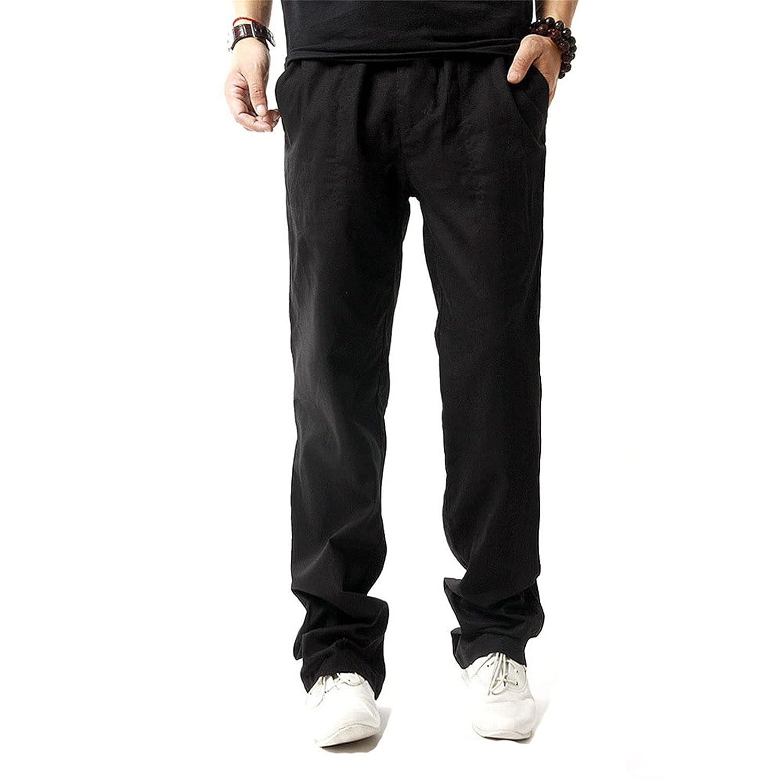 Mens Casual Linen Pants Loose Fit Straight-Legs Elastic Drawstring Waist Summer Beach Long Pant Sweatpants Joggers (Large,Black)