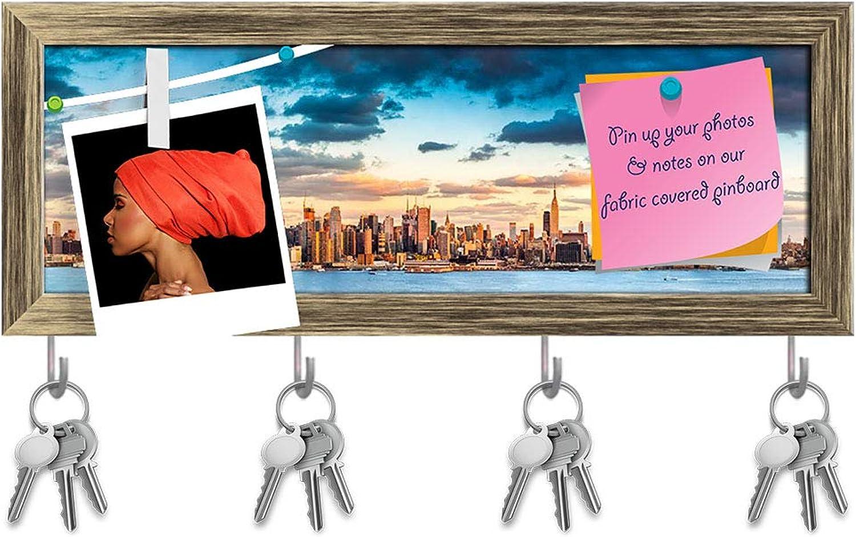 Artzfolio Midtown Manhattan Skyline Before Sunset, USA Key Holder Hooks   Notice Pin Board   Antique golden Frame 16.4 X 6Inch