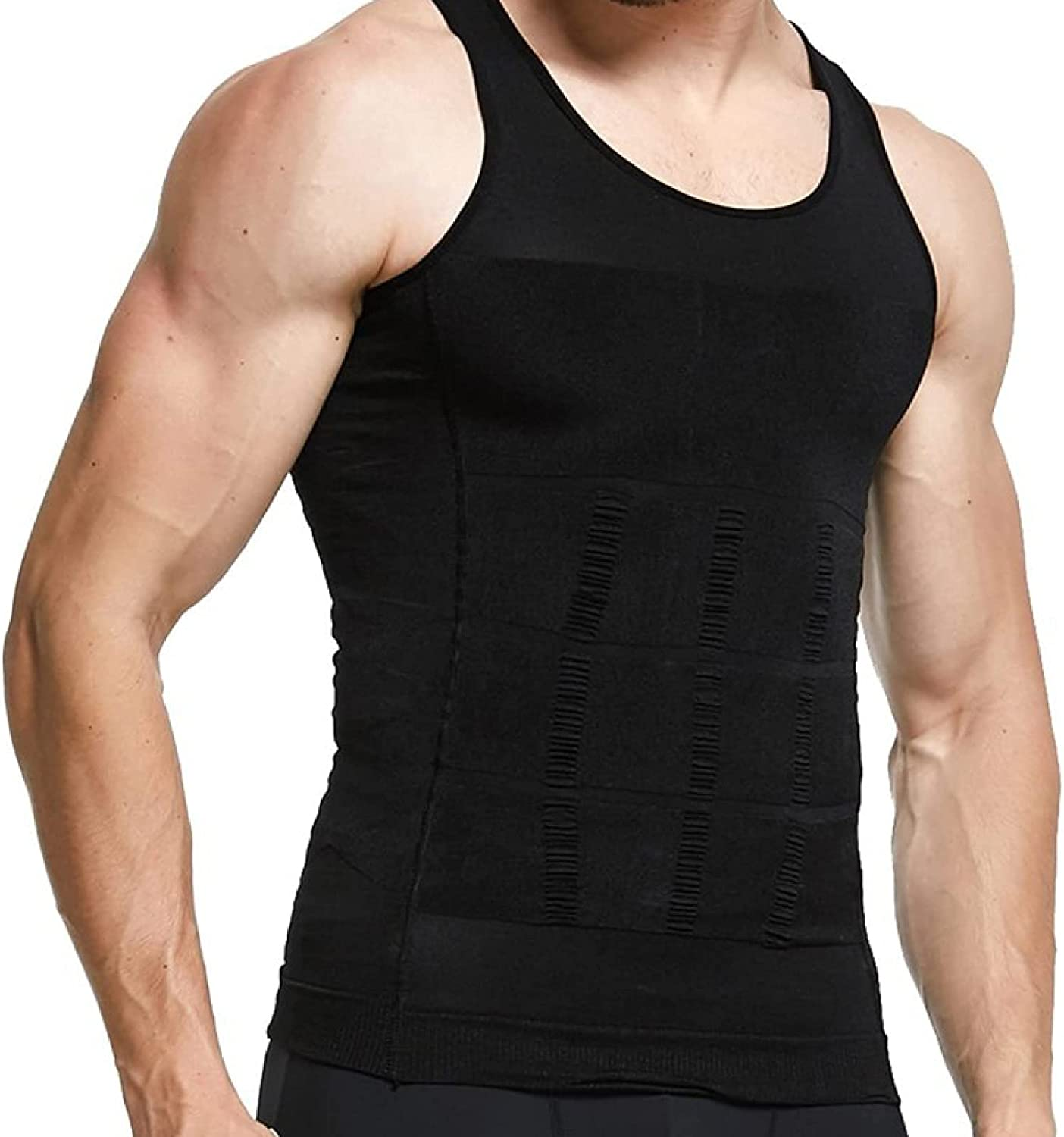 Men Tight Compression Shirts Slimming Tummy Control Tops Scoop Neck - Weight Loss Shapewear Vest for Gym Exercise
