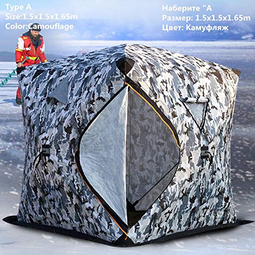 HLSX Ice Fishing Tent Three Layers Thickened Warm Cotton Camping 3-4 Person Tent Windproof Winter Fishing Ice Shelter,TypeA 1.5x1.5x1.65m
