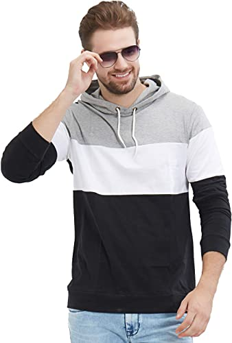 Men S Full Sleeve Hooded T Shirt Black White Grey