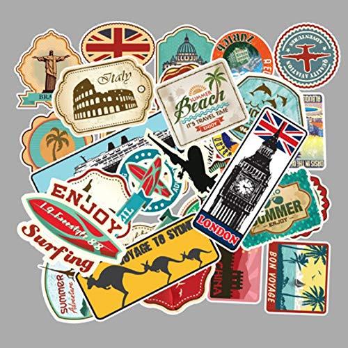 BLOUR 100 unids/Set Mapa de Viaje país Famoso Logo PVC Pegatinas Impermeables decoración para Maleta Bicicleta Coche Guitarra monopatín recién Llegado