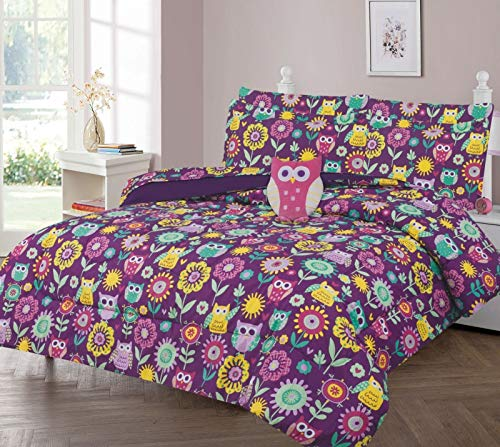 GorgeousHomeLinen Boys Girls Teens Twin 6PC Comforter Bedding Set with Matching Sheets and Small Decorative Pillow Bed Dressing for Kids (OWL Purple)