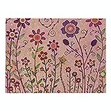 Lushi - Mantel individual cuadrado de algodón y lino con estampado floral