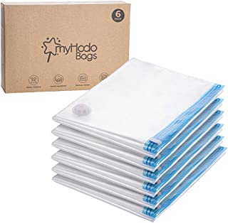 myHodo Sacs de Rangement sous Vide XXL Extra Large, Lot de 6 (80x120 cm) Housse de Rangement sous Vide Réutilisable pour C...
