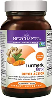 New Chapter Turmeric Supplement + Daily Detox - Turmeric Force Detox Action with Green Tea + Ginger + NO Black Pepper Needed + Non-GMO Ingredients - 60 Vegetarian Capsule