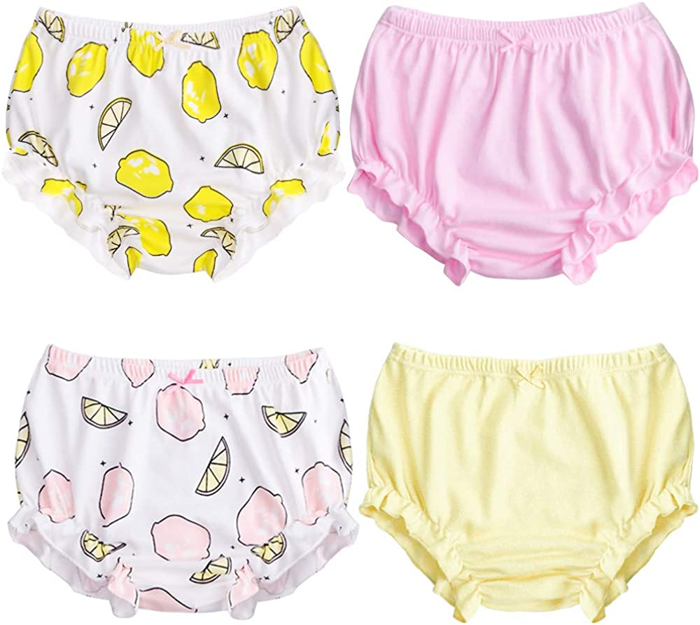 XMS-Tech Training Underwear for Girls Soft Cotton Potty Training Pants for Baby Girls 4-Pack