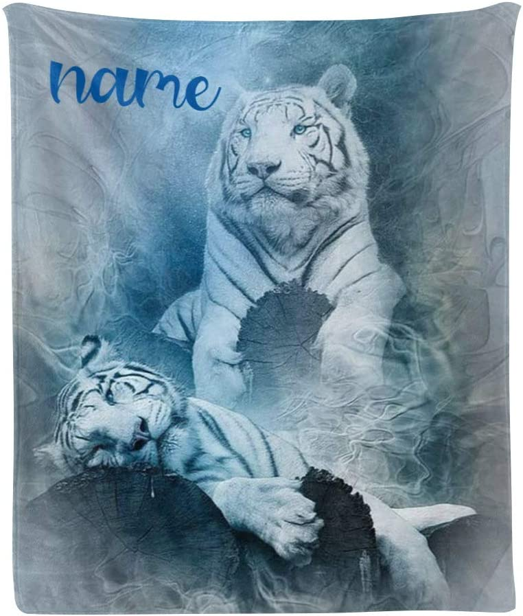 Custom Blanket ブランド激安セール会場 with Name Text White Personalized Wo Tiger Animal 超激安特価