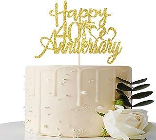 Maicaiffe Gold Glitter Happy 40th Anniversary Cake Topper - for 40th Wedding Anniversary / 40th Anniversary / 40th Birthda...