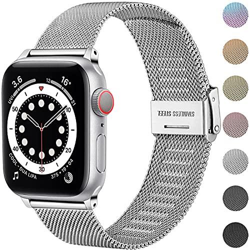 Upeak Compatibile con Cinturino Apple Watch 38mm 40mm 42mm 44mm, Cinturino di Ricambio in Acciaio Inossidabile con Fibbia Regolabile Compatibile con iWatch Series SE 6 5 4 3 2 1, 38mm/40mm-Argento