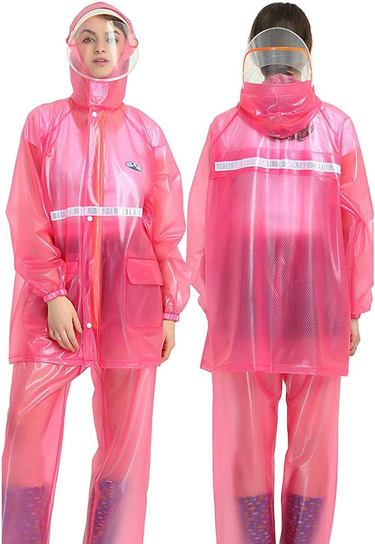FHGH 2PCS Adult Split Raincoat, PVC Reflective Raincoat and Rain Pants Suit, Detachable Brim Design, for Fishing/Cycling,C,XXLarge