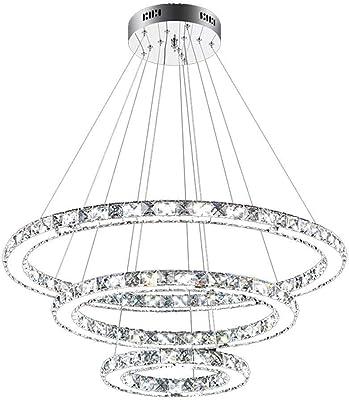 lámpara del techo del LED 72W anillo colgante de diseño araña de 3 6000k-6500K salón comedor estudio de iluminación de la iluminación creativa [Nivel A + de energía]