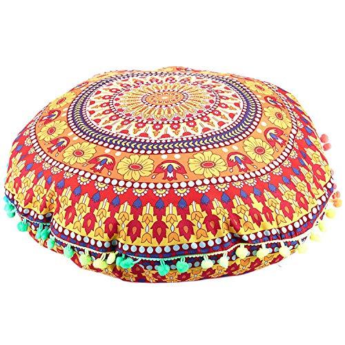 Uniquk Indian Mandala Floor Pillows - Cojines de Cojines Redondos Bohemios Funda de Almohadas Funda 13