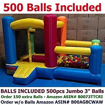 My Bouncer Balls Included Little Castle Bounce House w/ Built-in Ball Pit and 500 Jumbo 3  Crush-Proof Home Grade Balls - 88  x 118  x 72    AZ-600 w/ 500 Jumbo Balls Included