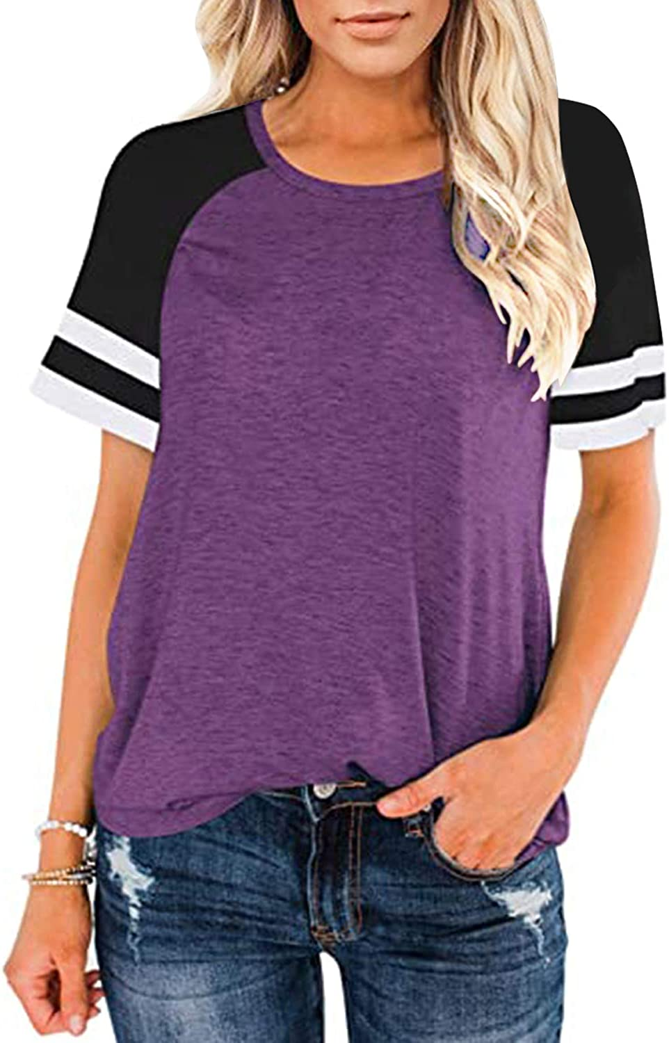 Womens Short Sleeve Shirts Crew Neck Color Block Workout Loose Fit Top Casual Tunic Tops Athletic T-Shirt