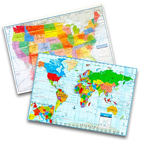 Kappa Wall Map Set - Giant United States and World Map Posters for Home/School/Office (2 Pack, 40'x28')