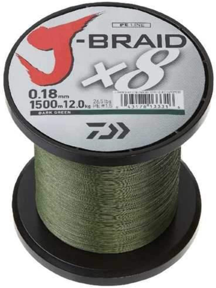 3000yd Daiwa J-Braid x8 GRAND Braided Line DARK GREEN 15lb JBGD8U15-3000DG