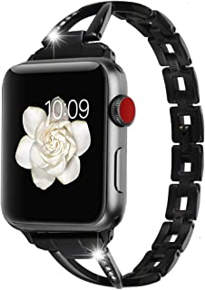 for Apple Watch 42mm 44mm Accessories Bands, Huishang Stainless Steel Band iWatch Wrist Straps with Crystal Rhinestone Diamond for Apple Watch Series 4 3 2 1 Edition Version (Metal Black 42 44mm)