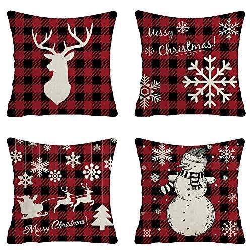 SIMUER Caso di Cuscino di Natale Babbo Alce Cuscini per divani Decorativo Cotone Biancheria Cuscino copricuscini Divano Caso 4 Pack