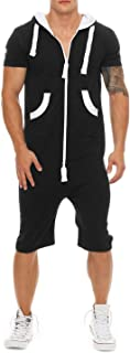 jumpjisper Mens Rompers Jumpsuits Shortsleeve One Piece Drawstring Hooded Tracksuits Casual Coverall Playsuits with Pockets