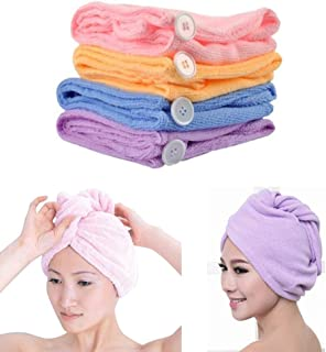 Wazdorf Quick Turban Hair-Drying Absorbent Microfiber Towel/Dry Shower Caps/Bathrobe Hat/Magic Hair Wrap for Women (Multi Color)