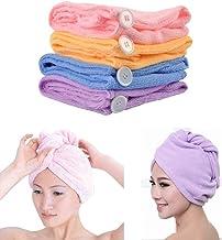 Wazdorf Quick Turban Hair-Drying Absorbent Microfiber Towel/Dry Shower Caps/Bathrobe Hat/Magic Hair Wrap for Women Hair wrap(Multi Color) (1 pcs)