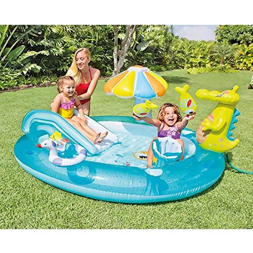 HXMSXROMIDA Niños Piscina Con Tobogán Con Paraguas Bebé Slide Juguetes 203×173×89cm Niños Piscinas Para Jardines