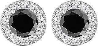 1/2-10 Carat t.w. Black Diamond Stud Earrings Screw Back