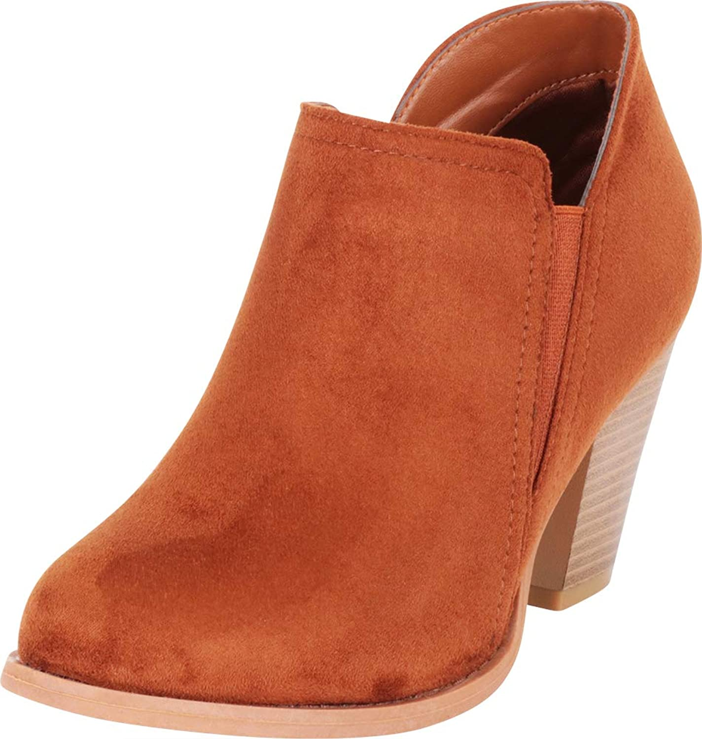 Cambridge Select Women's Side V Cutout Stretch Stacked High Heel Shootie Ankle Bootie