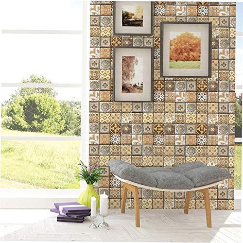 Vinilo adhesivo de pared para cocina, baño, diseño vintage 3D, impermeable, autoadhesivo, de PVC