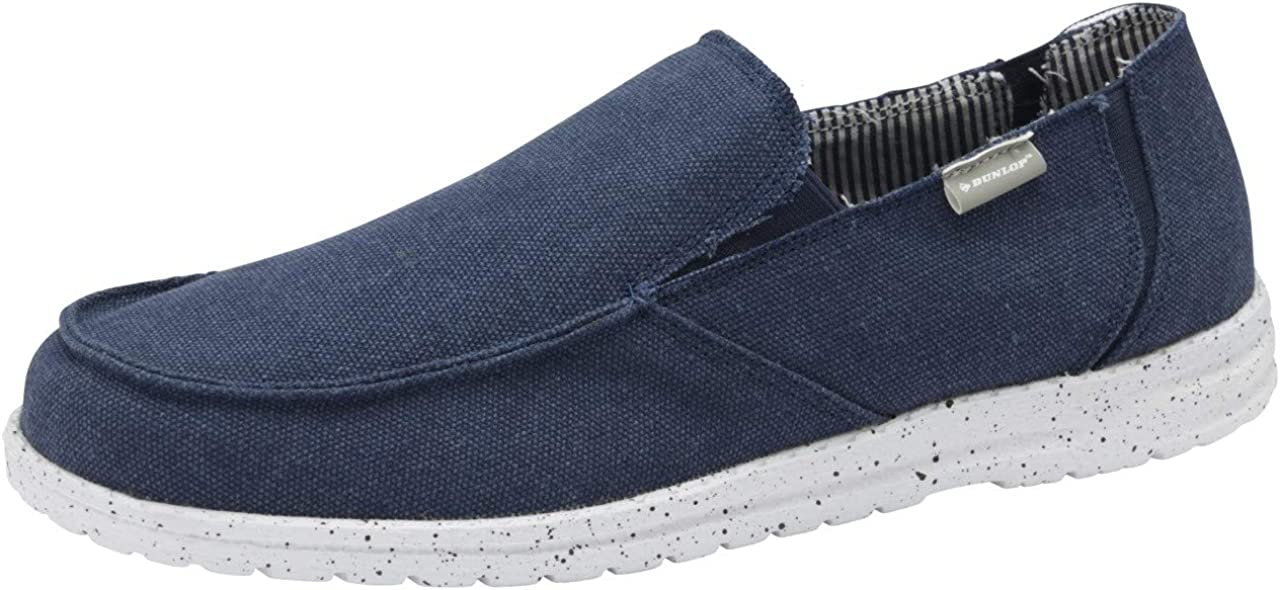 Dunlop Mens Soft Padded Casual Comfy Canvas Slip On Lightweight Outdoor Shoes