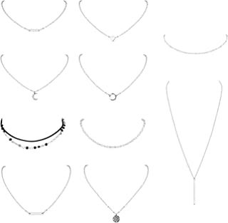 10 PCS Choker Necklace for Women Girls Dainty Gold Silver Plated Chain Heart Pearl Bar Bead Necklaces Set