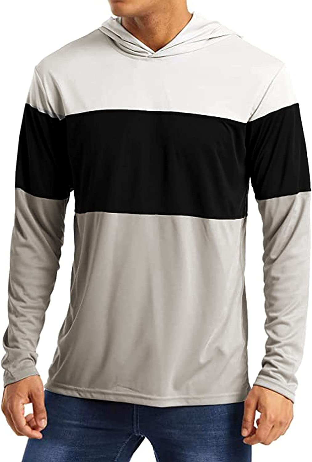 Long Sleeve Tee Shirts for Men with Hoodie Pullover T Shirt Running Workout Shirts, Athletic Fitness Gym Shirt