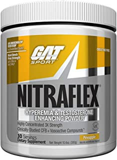 GAT - NITRAFLEX - Testosterone Enhancing Powder, Increases Blood Flow, Boosts Strength and Energy, Improves Exercise Performance, Creatine-Free (Pineapple, 30 Servings)