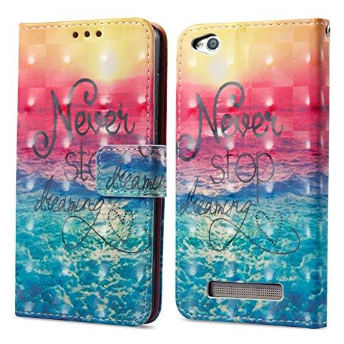 Ooboom® Xiaomi Redmi 4A Hülle 3D Flip PU Leder Schutzhülle Stand Handy Tasche Brieftasche Wallet Hülle Cover für Xiaomi Redmi 4A - Never Stop Dreaming