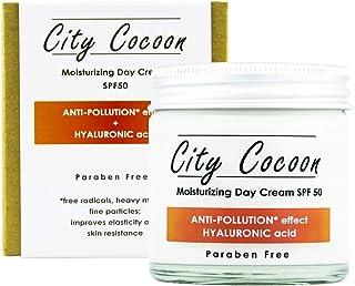 Crema solar SPF 50 con filtro UVA y UVB - Anti-contaminación - Acido Hialurónico - Día hidratante - Para la cara y el cuel...