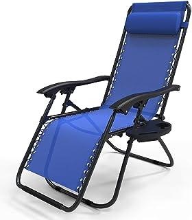 VOUNOT Chaise Longue inclinable avec Support de Gobelet Amovible Chaise de Jardin Pliable en Textilène Chaise Longue avec ...