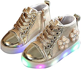 Girls Boy Kids Fashion Sneakers Side Zip Luminous Child Casual Colorful Light Up Shoes