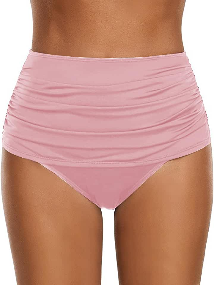 Chuanqi Womens High Waisted Bikini Bottoms Beach Ruched Swimsuits Comfy Swim Shorts