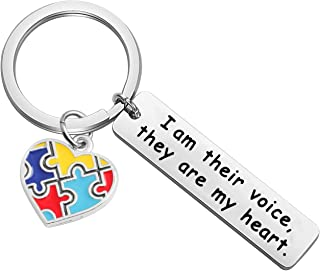 Autism Awareness Keychain I am Their Voice, They are My Heart Keychain Thank You Gift for Autism Teacher Speech Therapist Appreciation Gift