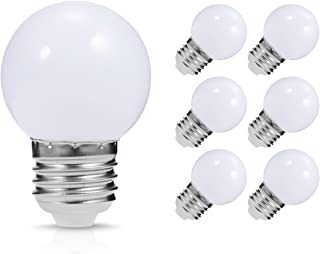 LED Vanity Light Bulb, JandCase G14 Globe Bulb, 1 Watt(10W Equivalent), Soft White 3000K, Ideal for Bathroom Mirror, Porch, Strip Lights, Ceiling Fan, Night Light, E26/E27 Base, Not Dimmable, 6 Pack