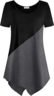 Women Short Sleeve Color Block Tunic Tops Casual Long Shirt