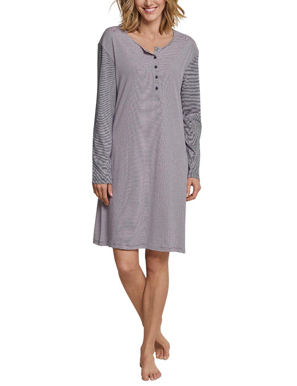 Schiesser 女士经典睡衣长袖,条纹女士内衣,由柔软舒适的棉莫代尔混合搭配纽扣衣襟