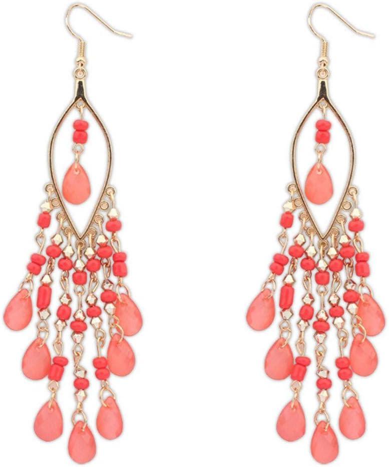 Ranking TOP11 Dangle Earrings Bohemian Style Sweet Bead Tassel Max 69% OFF Personality Ear