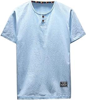 綿麻 Tシャツ 花千束 メンズ リネンシャツ 半袖 夏服 オシャレ 無地 カットソー リネンシャツ ヘンリーネック 大きいサイズ tシャツ