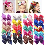 DeD 20 Pieces Sequins Hair Bows Clips 6 Inch...