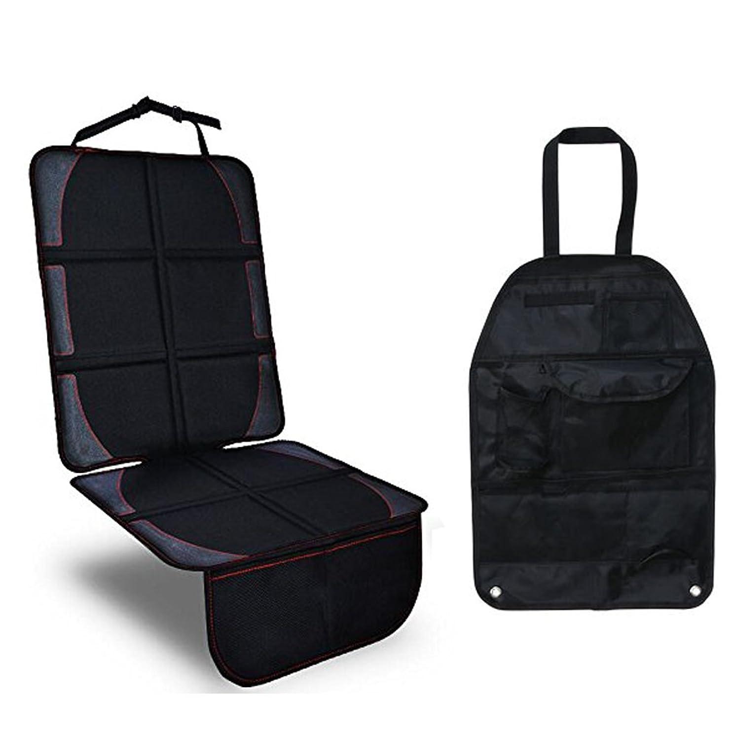 排泄物寝る自分のチャイルドシート保護マット カーシート収納袋 車プロテクトカバー 座席保護 滑り止め キックガード ISOFIX車類対応 2点セット ブラック