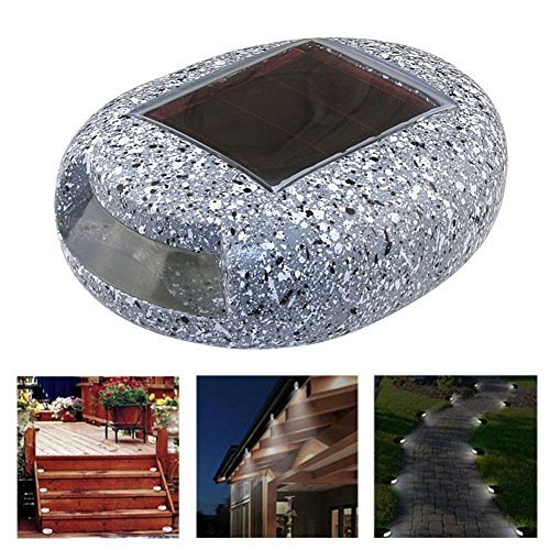 4 x Pathway Stairs Light Outdoor LED Solar Power Fake Stone Lamp, RUILASA Pebbles Shape Light for Garden Landscape Decoration IP65 Waterproof