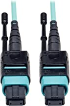 Tripp Lite MTP / MPO Patch Cable 12 Fiber,40GbE, 40GBASE-SR4,OM3 Plenum-rated - Aqua, 1M (3-ft.)(N844-01M-12-P)
